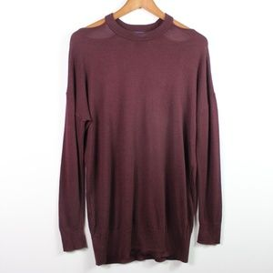 Splendid Sweater Small Cut-Out Shoulder Pullover
